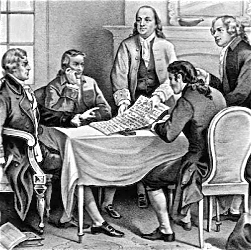 Benjamin Franklin and other founding fathers around a table looking at the Declaration of Independence